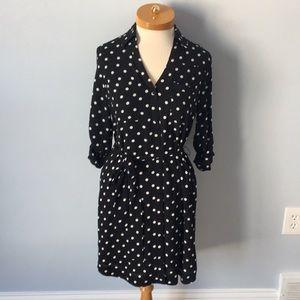 Express Black and White Polka Dot Shirtdress